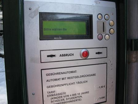 Eintrittsgeldautomat Tierpark Waschleithe