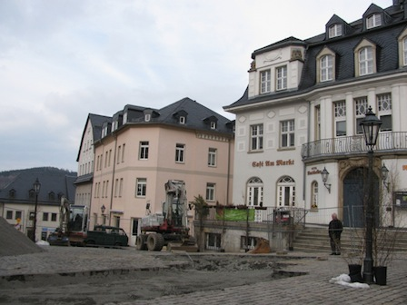 Schwarzenberg Altstadt Markplatz Baustelle